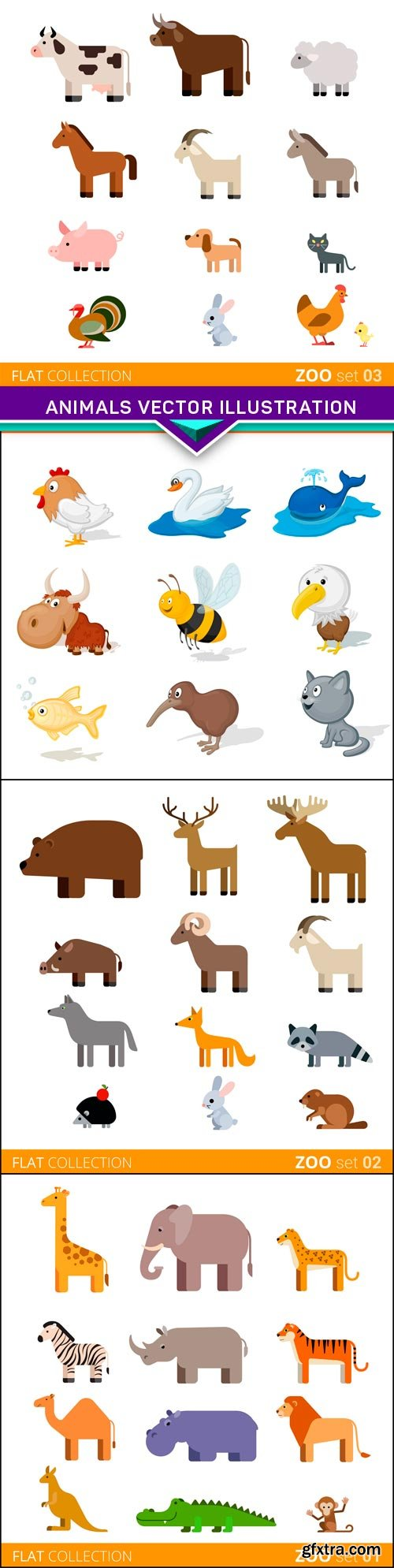 Collection of animal vector illustration 4x EPS