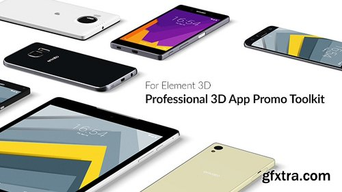 Videohive Professional 3D App Promo Toolkit for Element 3D 15852376