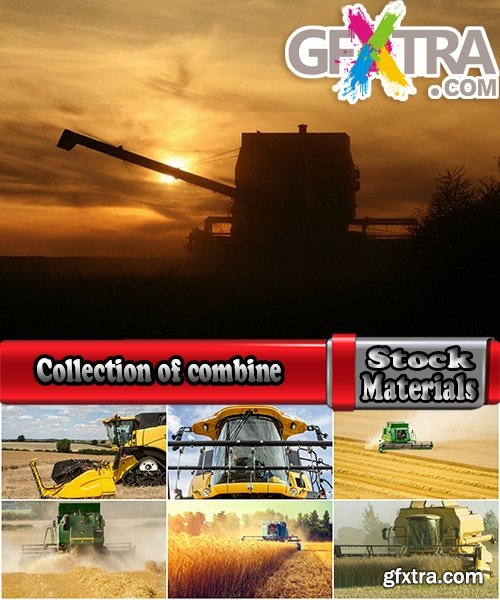 Collection of combine tractor harvesting field of agricultural crop harvester 25 HQ Jpeg