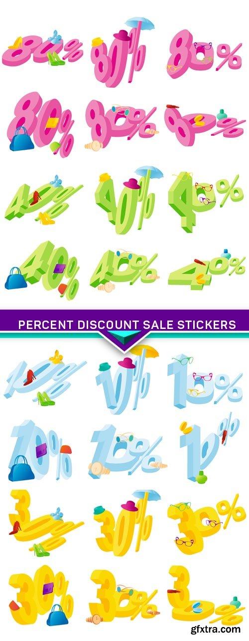 Percent discount sale stickers 4X JPEG