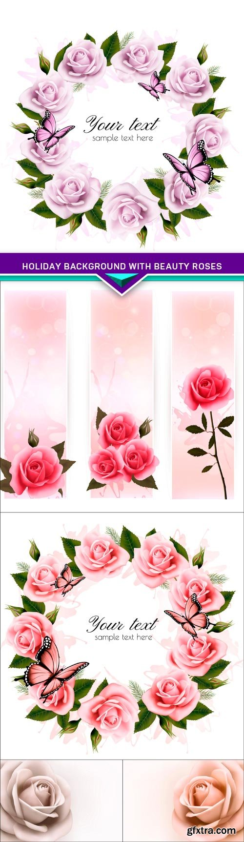 Holiday background with beauty roses 5X EPS