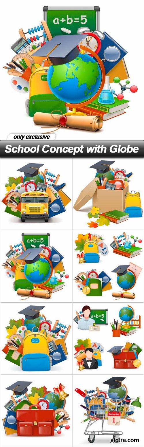 School Concept with Globe - 8 EPS
