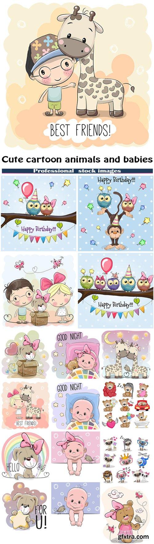 Cute cartoon animals and babies