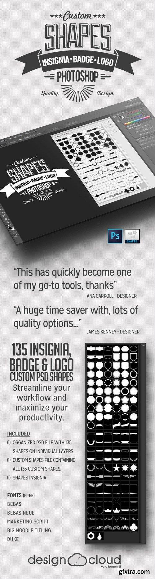 Graphicriver - 135 Insignia, Badge and Logo Custom PSD Shapes 6747588