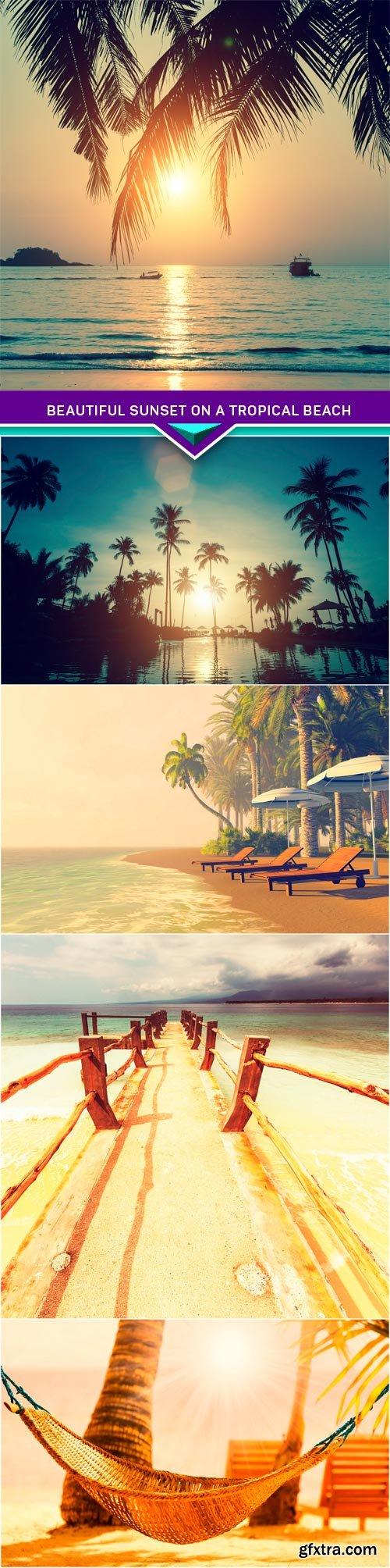 Beautiful sunset on a tropical beach 5X JPEG