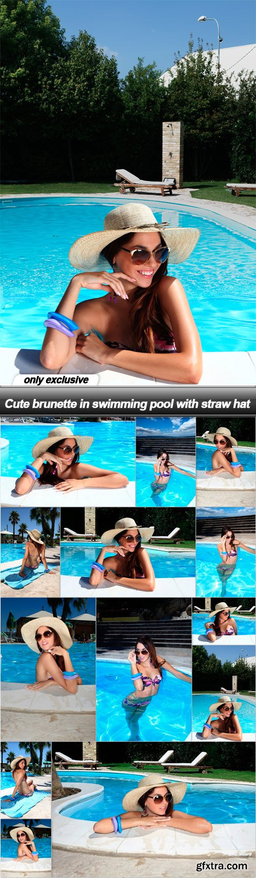 Cute brunette in swimming pool with straw hat - 13 UHQ JPEG