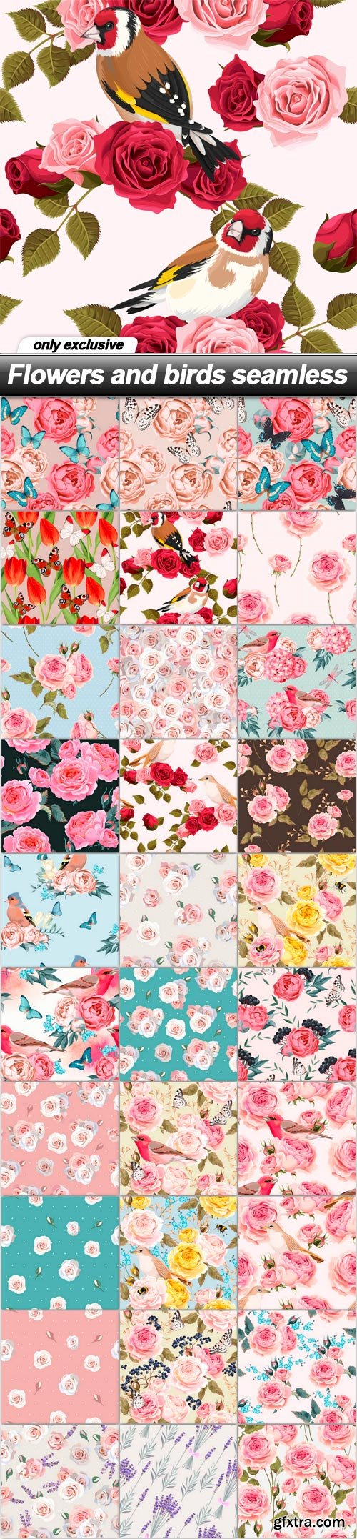 Flowers and birds seamless - 30 EPS
