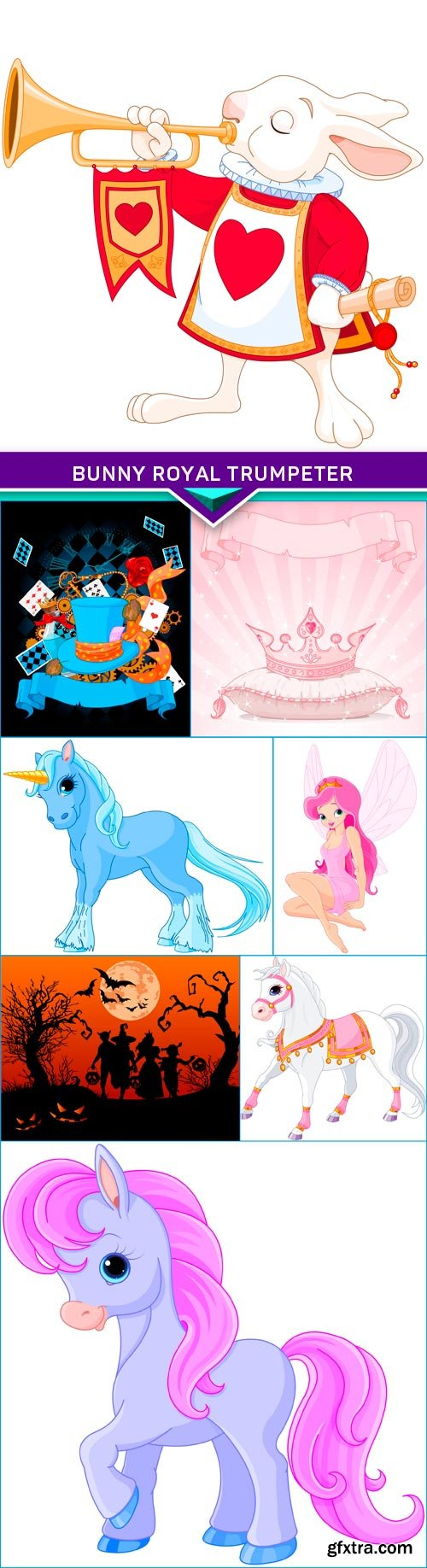 Bunny royal trumpeter and a cartoon characters 8X EPS