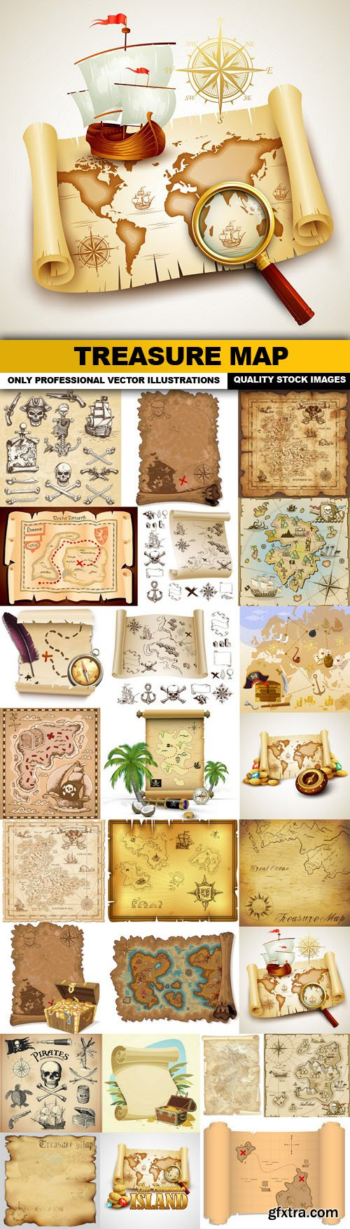 Treasure Map - 25 Vector