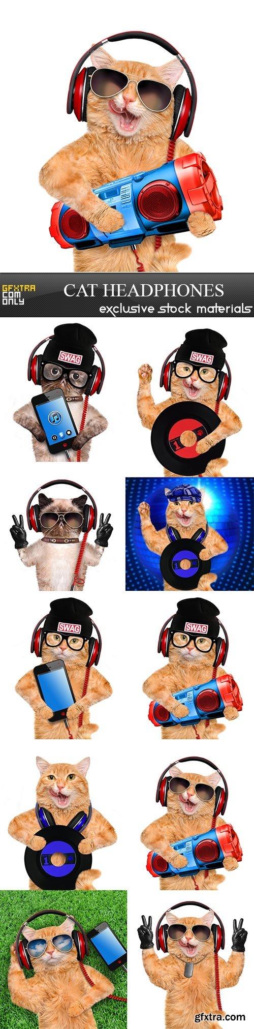 Cat headphones, 10 x UHQ JPEG