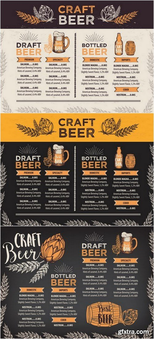 Beer restaurant cafe menu - 19 EPS