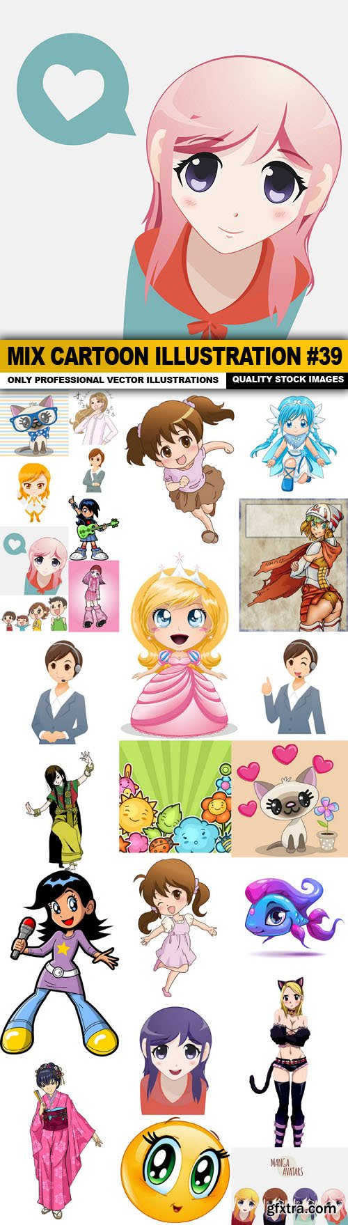 Mix cartoon Illustration #39 - 25 Vector