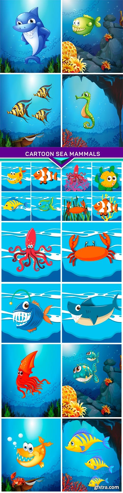 Cartoon sea mammals 5X EPS