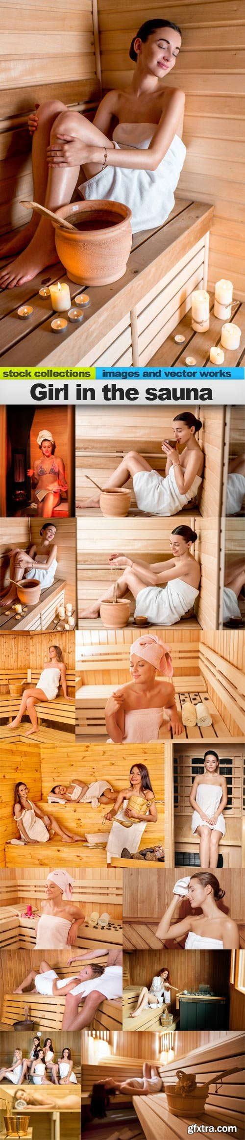 Girl in the sauna, 15 x UHQ JPEG