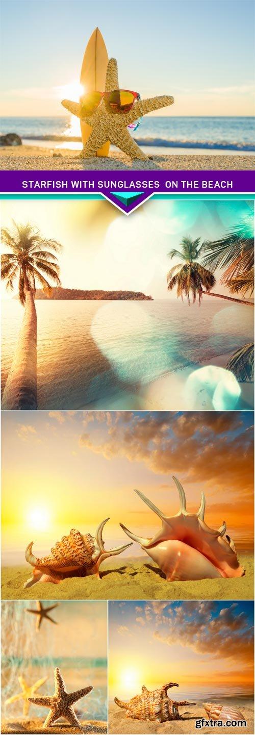 Starfish with sunglasses on the beach 5X JPEG
