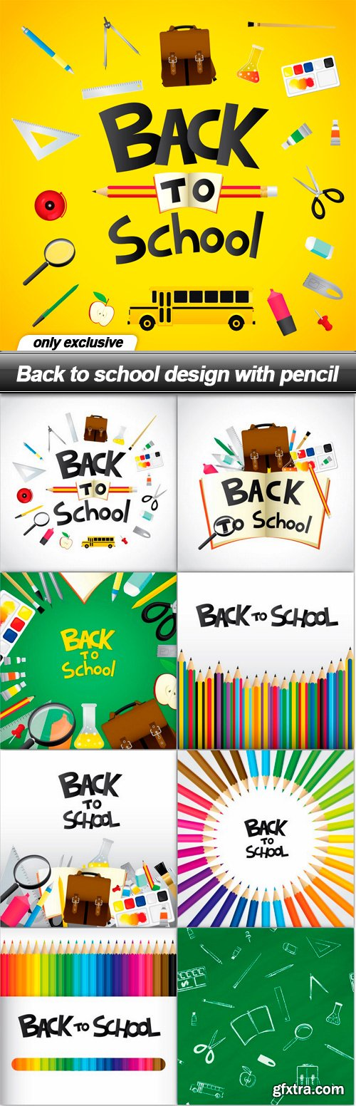 Back to school design with pencil - 9 EPS