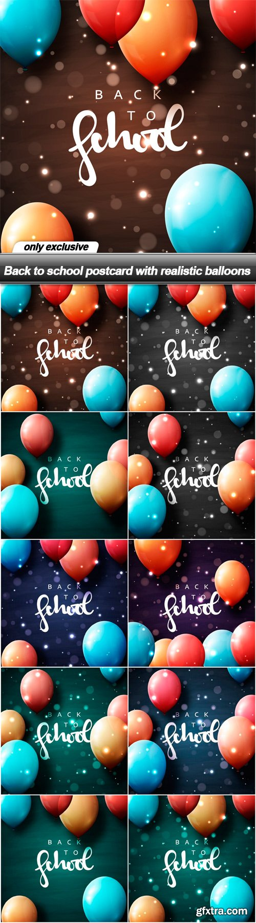 Back to school postcard with realistic balloons - 10 EPS