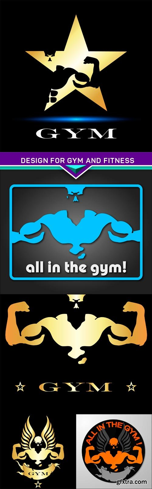 Design for gym and fitness 5X EPS