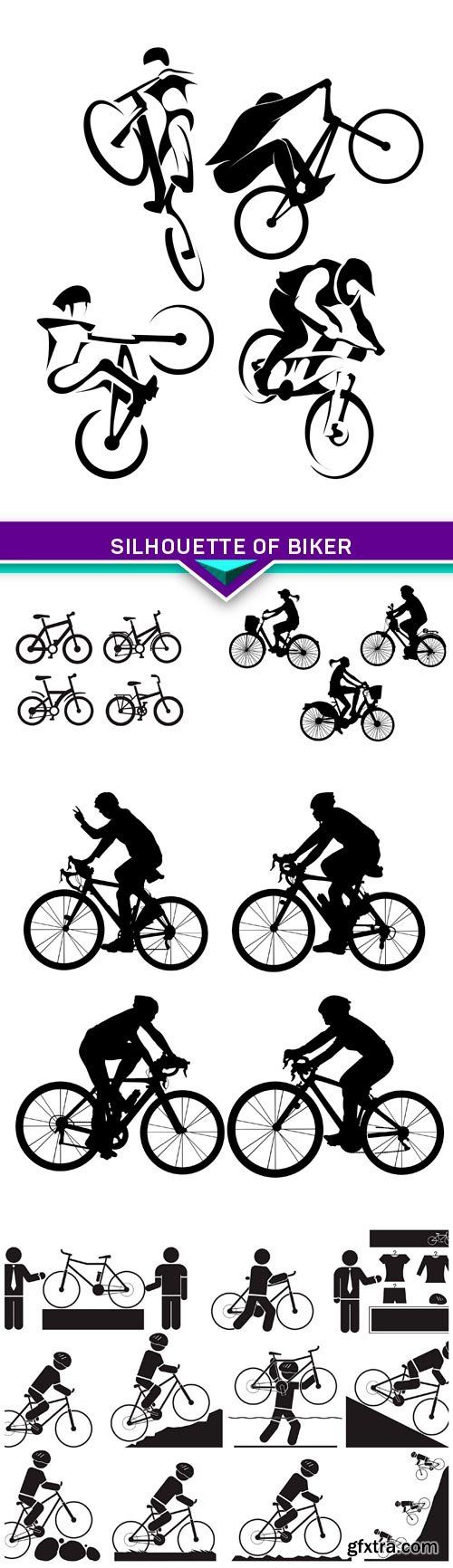 Silhouette of Biker 5X EPS