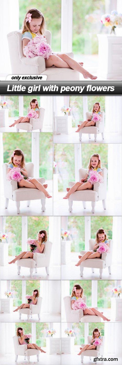 Little girl with peony flowers - 10 UHQ JPEG