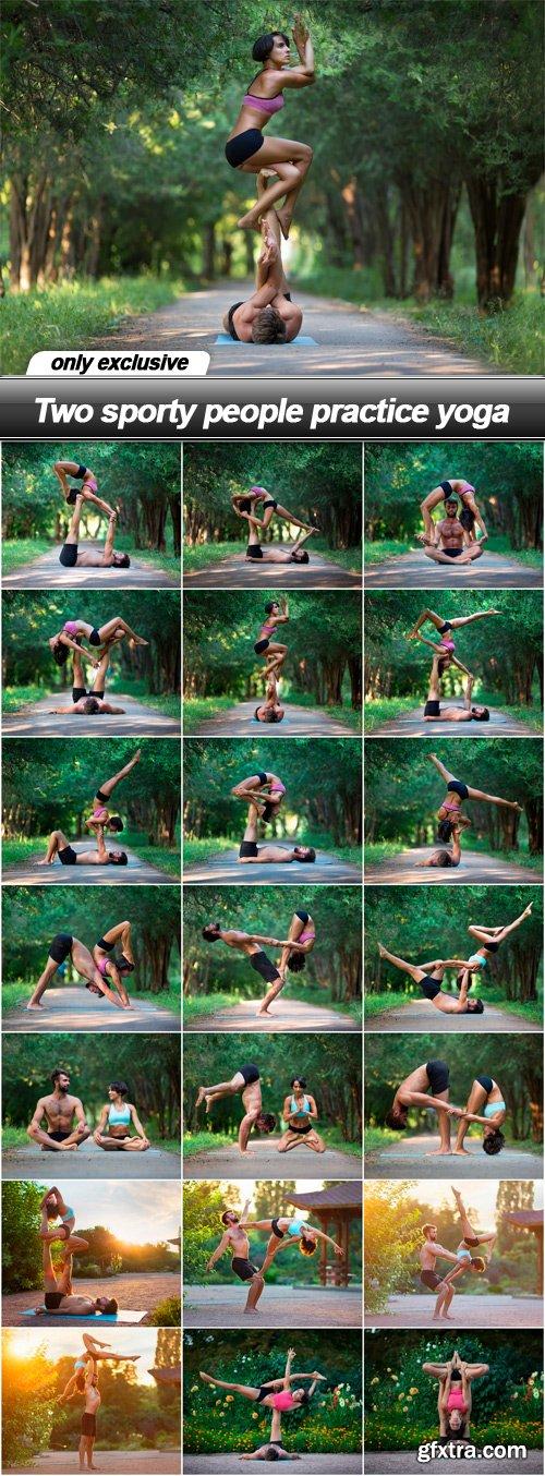 Two sporty people practice yoga - 21 UHQ JPEG