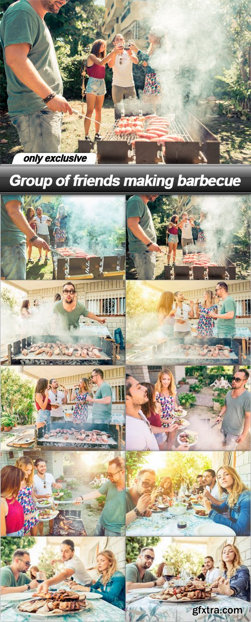 Group of friends making barbecue - 10 UHQ JPEG