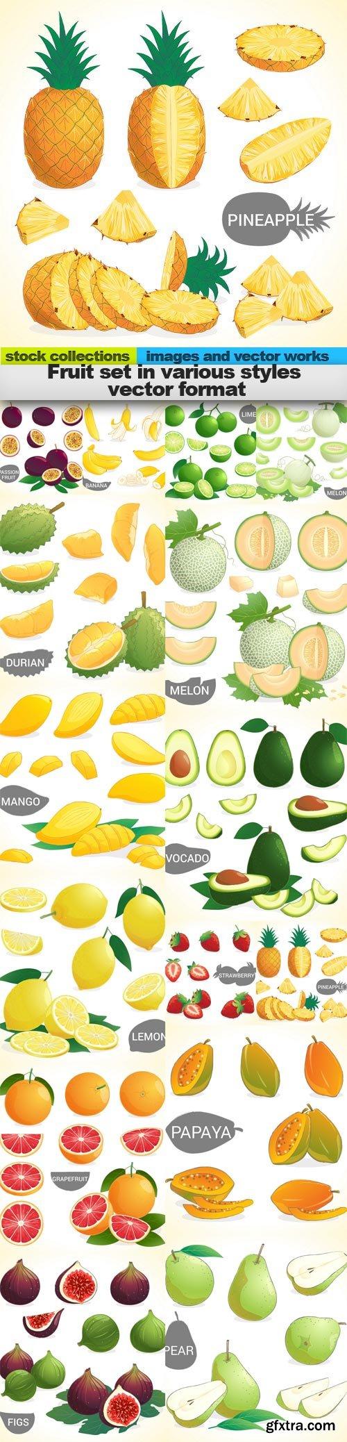 Fruit set in various styles vector format, 15 x EPS