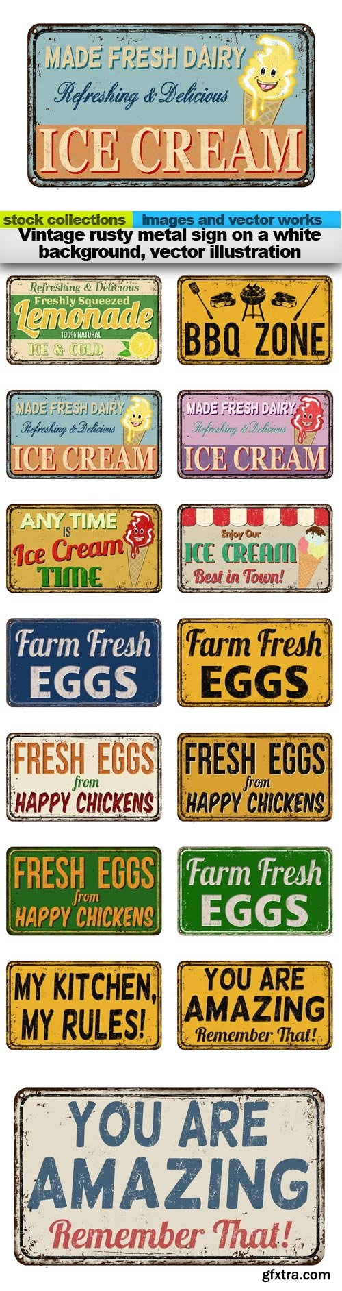 Vintage rusty metal sign on a white background, vector illustration, 15 x EPS