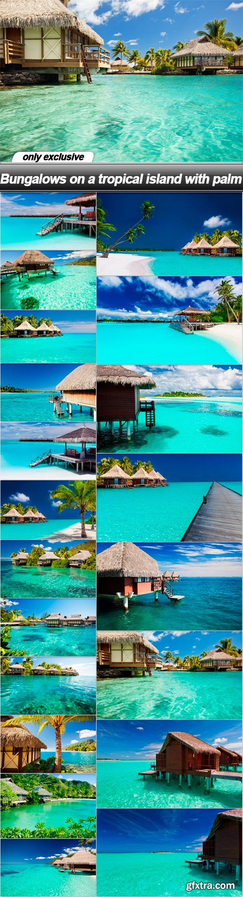 Bungalows on a tropical island with palm - 20 UHQ JPEG