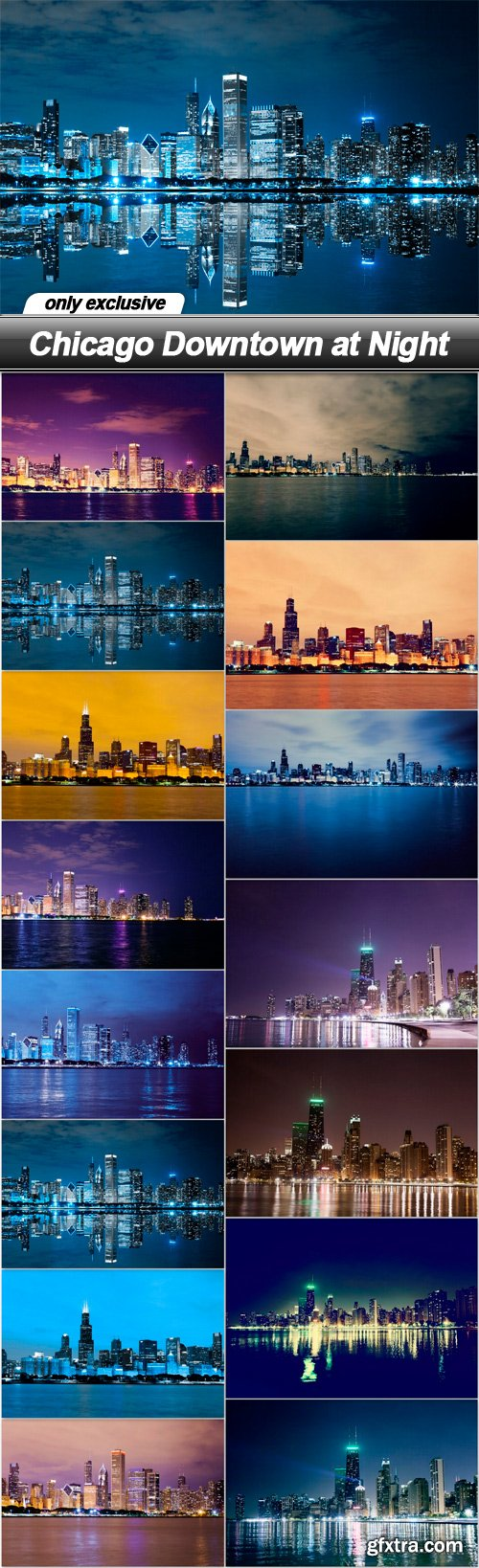 Chicago Downtown at Night - 15 UHQ JPEG