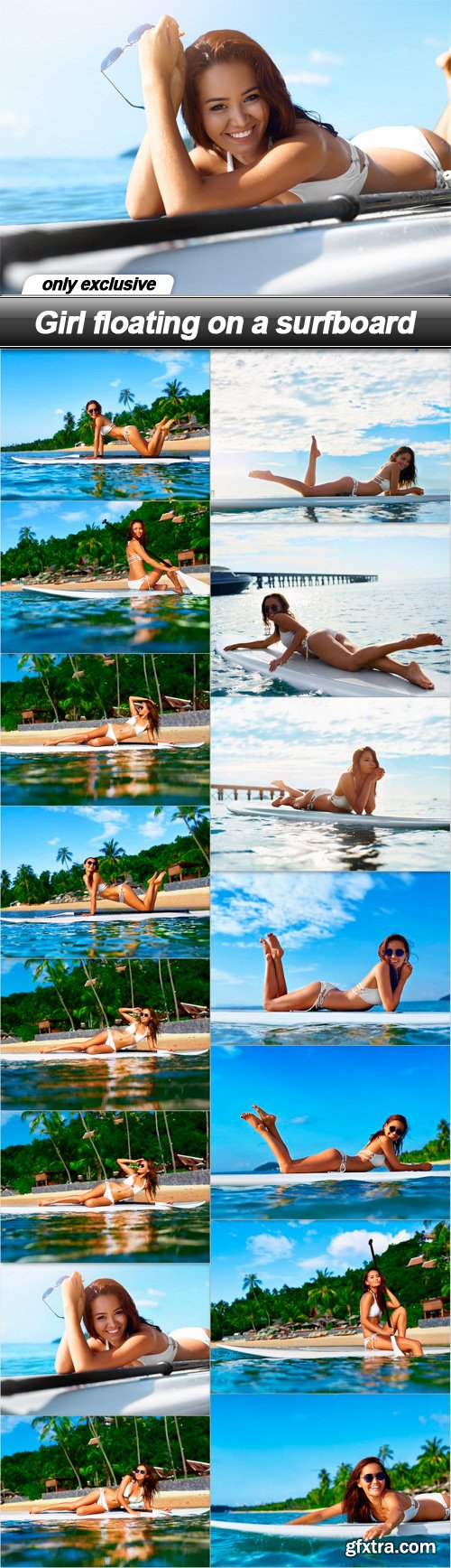 Girl floating on a surfboard - 15 UHQ JPEG