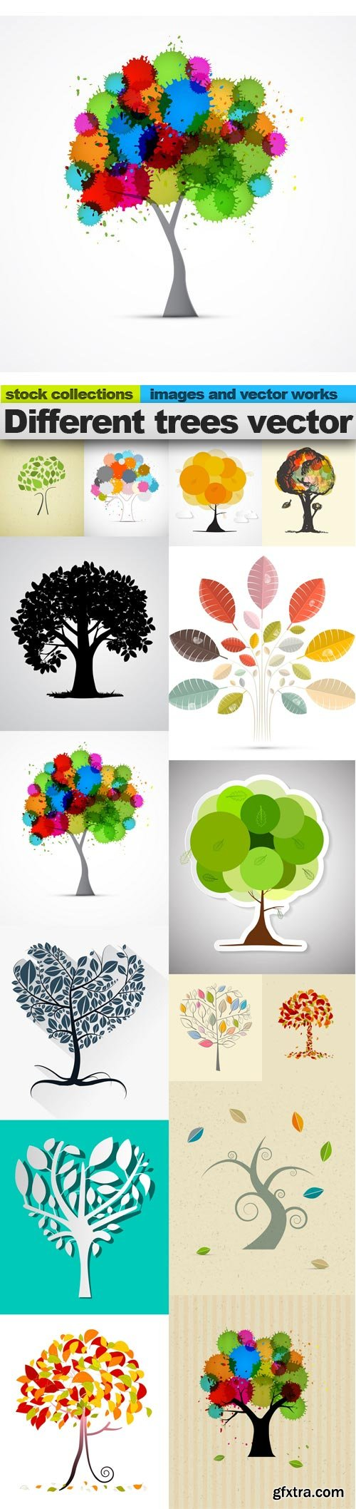 Different trees vector, 15 x EPS