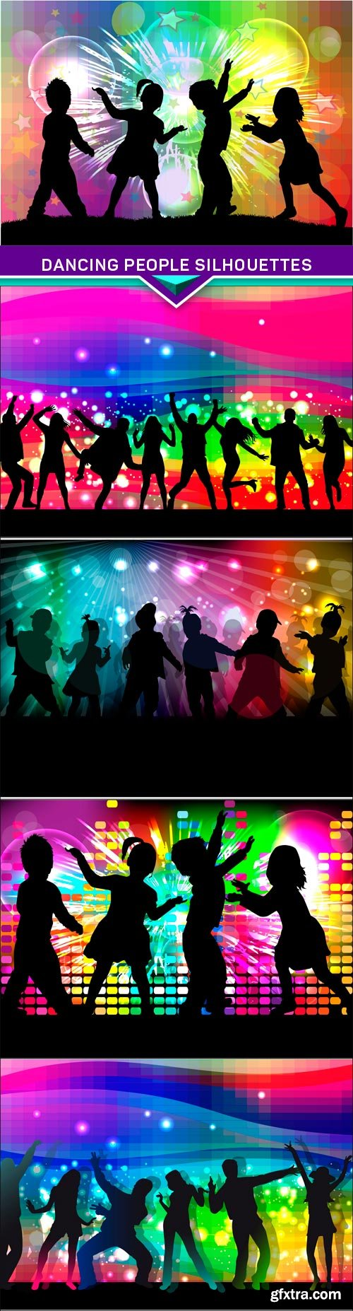 Dancing people silhouettes Abstract background 5X EPS