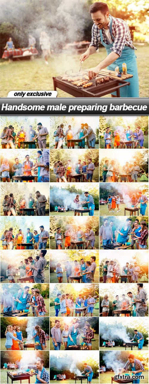 Handsome male preparing barbecue - 25 UHQ JPEG