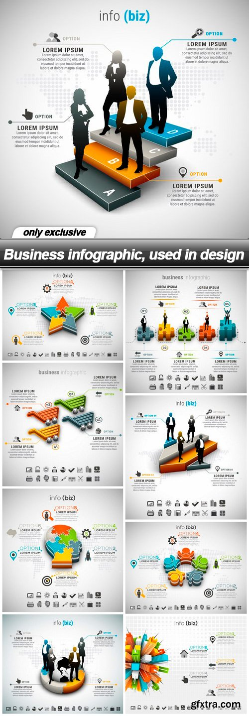 Business infographic, used in design - 9 EPS