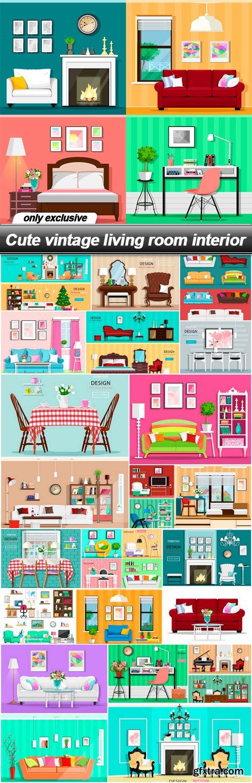 Cute vintage living room interior - 22 EPS
