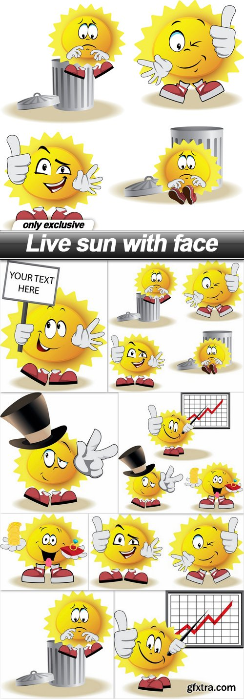 Live sun with face - 8 EPS