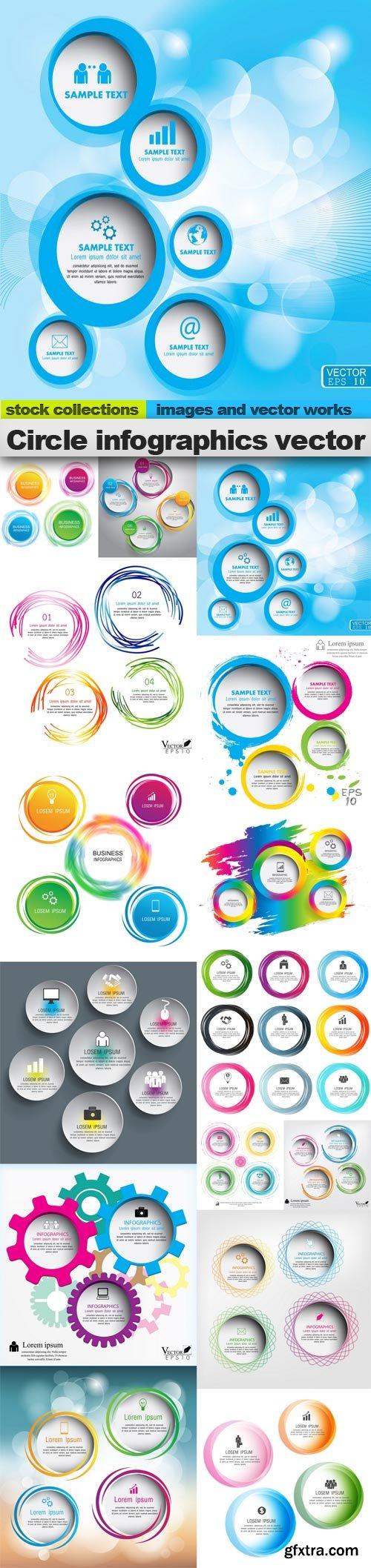 Circle infographics vector, 15 x EPS