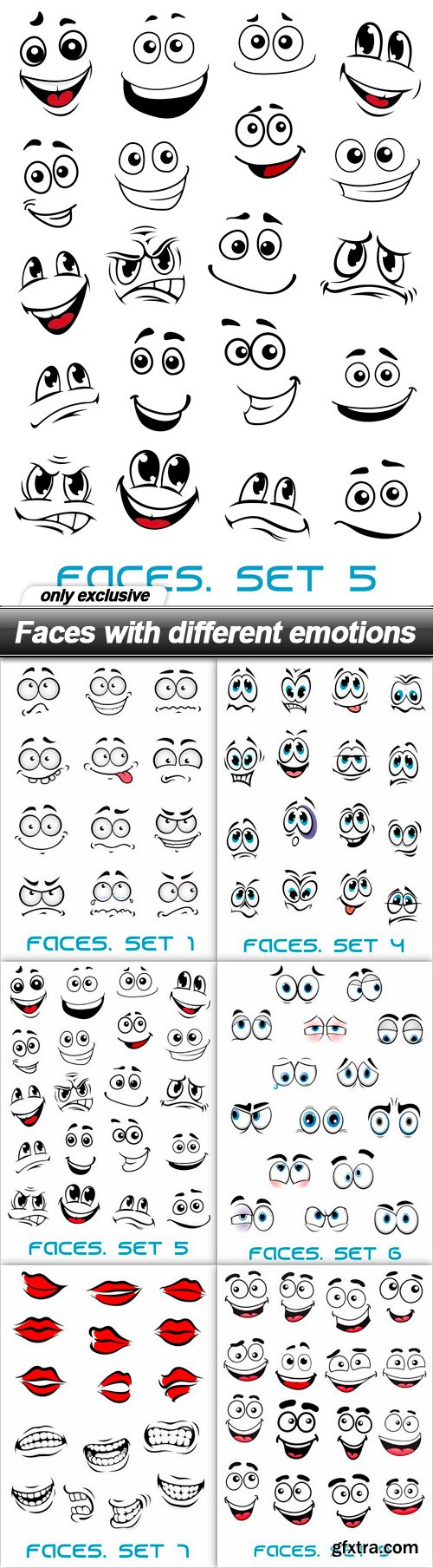 Faces with different emotions - 14 EPS