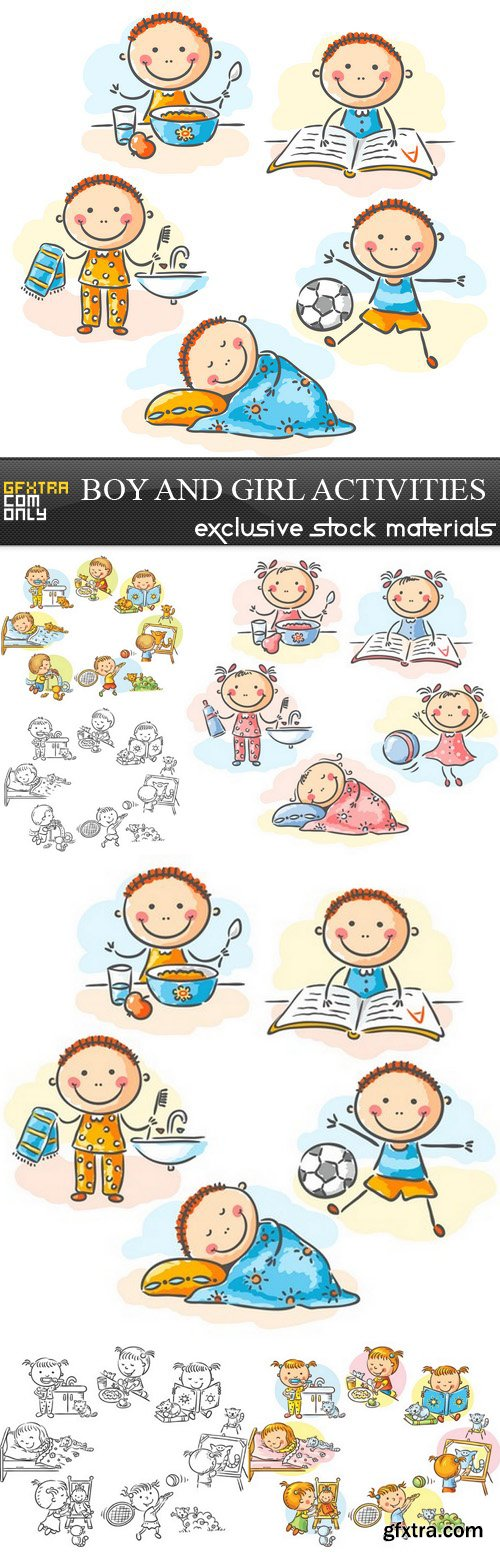 Boy and Girl Activities - 6 EPS