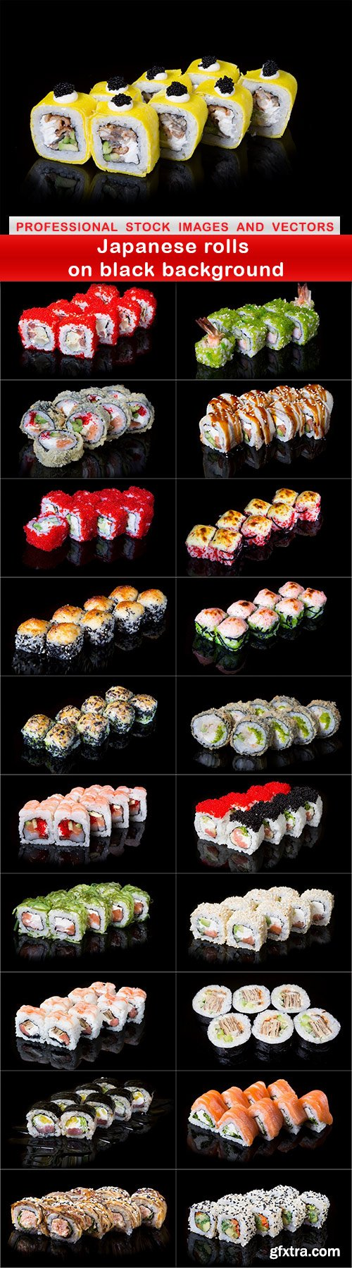 Japanese rolls on black background - 21 UHQ JPEG