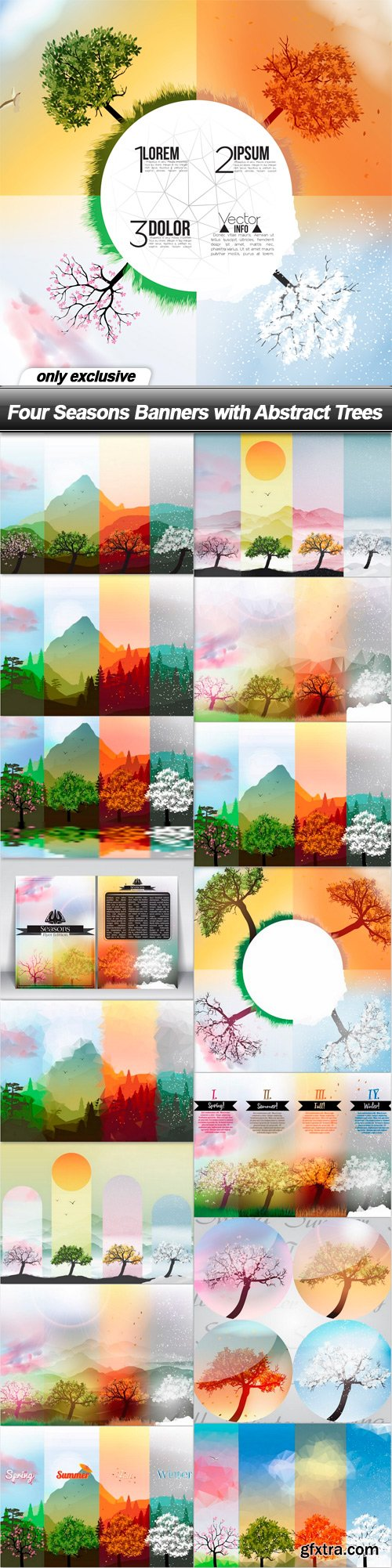 Four Seasons Banners with Abstract Trees - 16 EPS