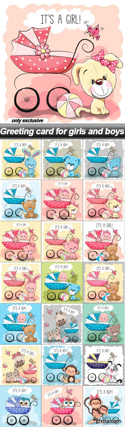 Greeting card for girls and boys - 21 EPS