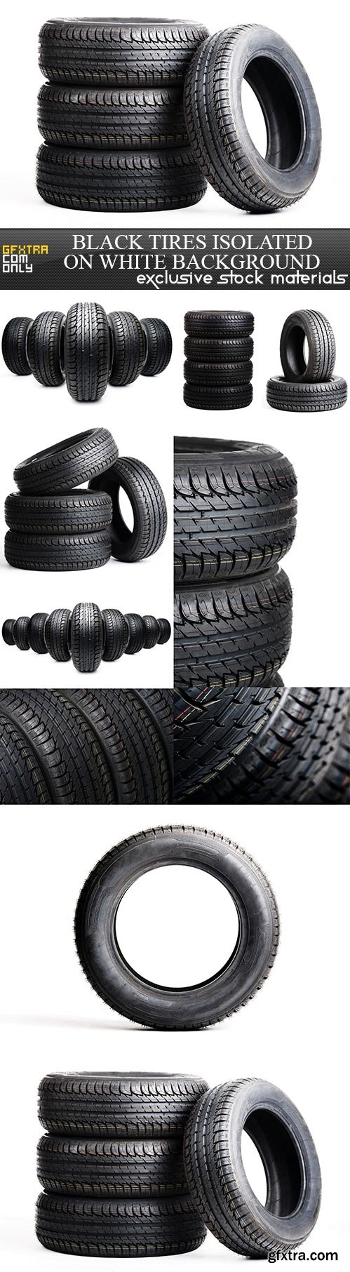 Black tires isolated on white background, 10 x UHQ JPEG