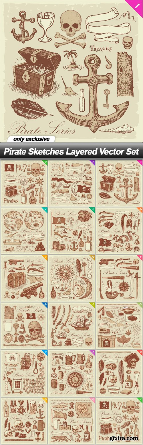 Pirate Sketches Layered Vector Set - 17 EPS