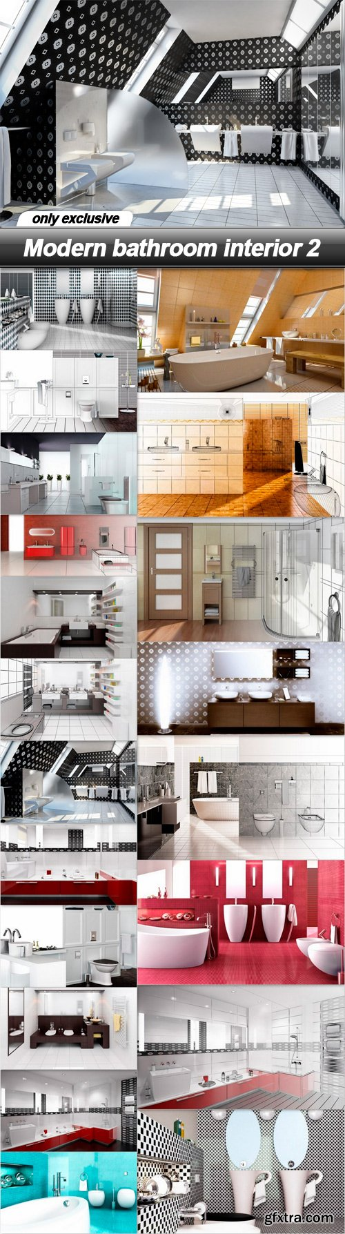 Modern bathroom interior 2 - 20 UHQ JPEG