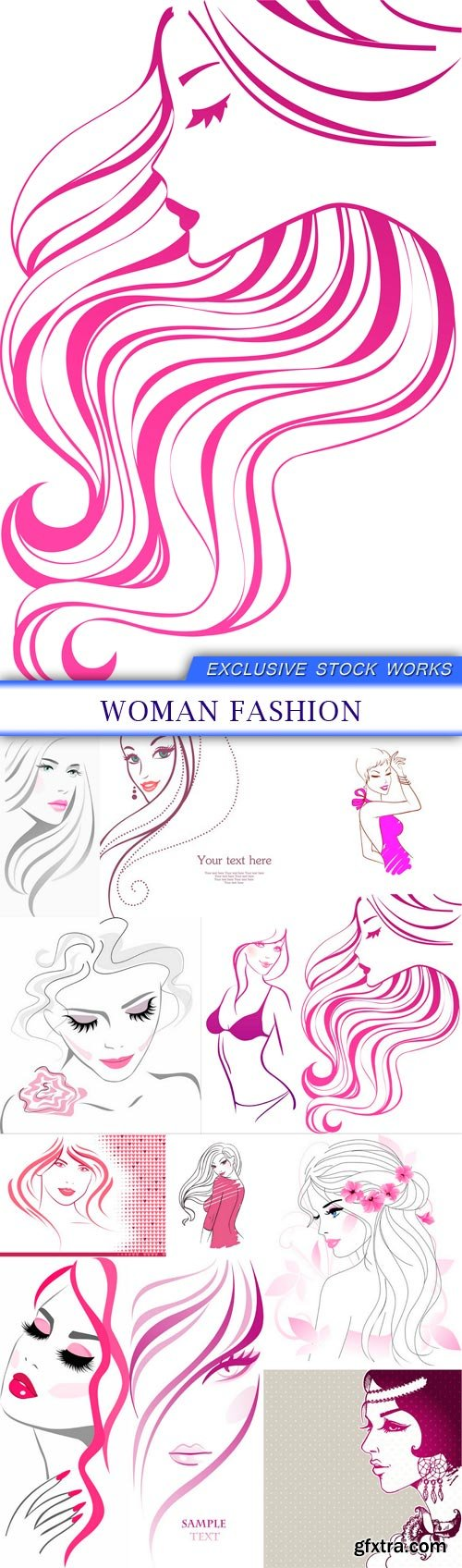 Woman fashion 12x EPS