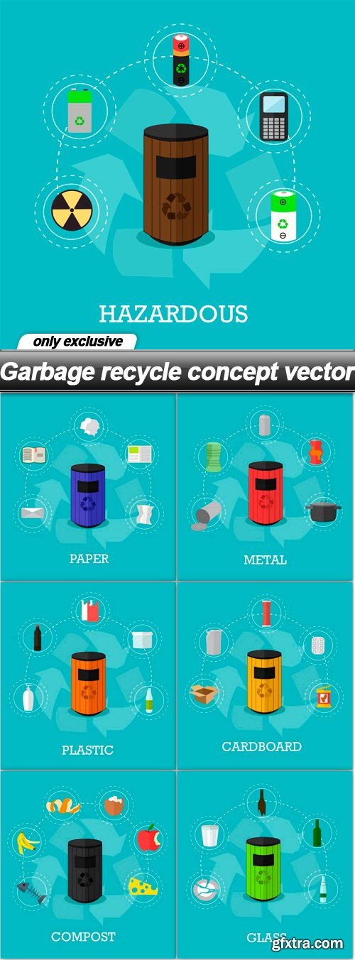 Garbage recycle concept vector - 7 EPS