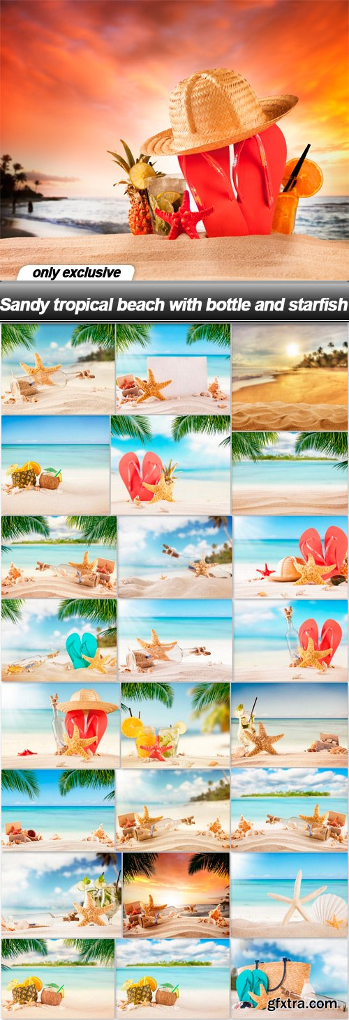 Sandy tropical beach with bottle and starfish - 25 UHQ JPEG