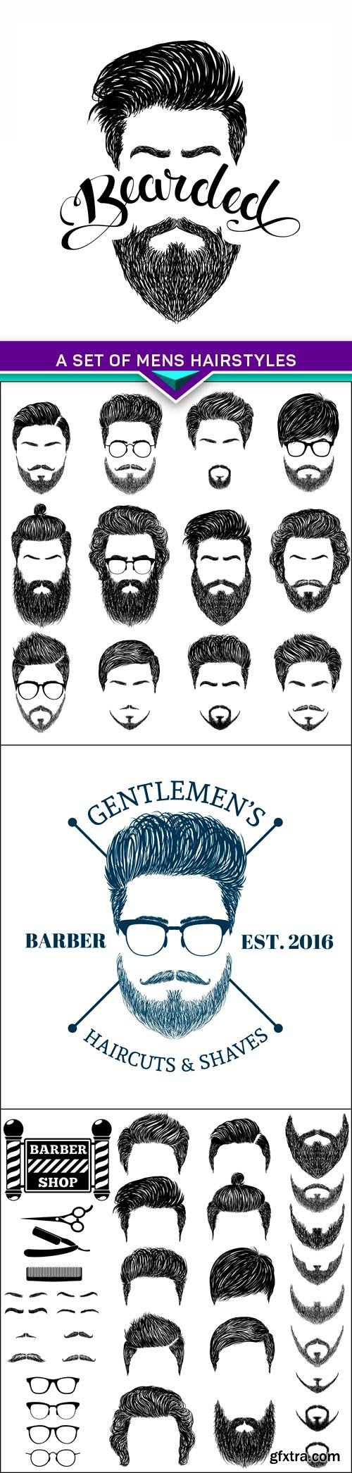 A set of mens hairstyles, beards and mustaches 4X EPS